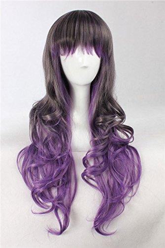 JapanAttitude Perruque Longue Grise Violette frisée 80-90cm, Cosplay