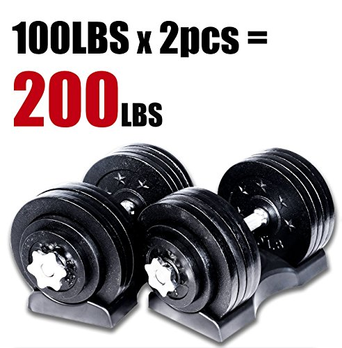 Ringstar Starring 105-200 Lbs Adjustable Dumbbells (200 LBS Black with Trays)