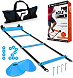 Pro Agility Ladder and Cones - 15 ft Fixed-Rung Speed Ladder with 12