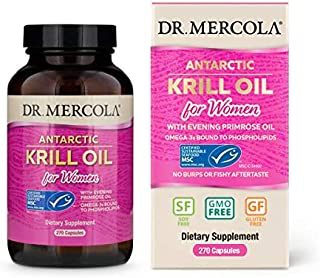 Dr. Mercola, Antarctic Krill Oil for Women with Evening Primrose Oil, 30 Servings (90 Capsules), MSC Certified, Non GMO, Soy-Free, Gluten Free