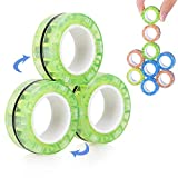 VCOSTORE Magnetic Rings Toys,3 Ring Fidget Spinners, Glow in The Dark Magnet Finger Game Decompression Magic Ring Game Props Tools for Adults, ADHD, Anxiety (Green)