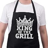 Bang Tidy - Grembiule da barbecue King of the grill, idea regalo divertente per uomini, 100% cotone. Cotone, Nero , taglia unica