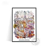Póster de Viaje de la Ciudad de Acuarela, Arte de Pared de Holanda Amsterdam, póster Impreso de Barcelona, Pegatinas de Pared de Lienzo de Alemania (AU-13) 50x70cm Sin Marco