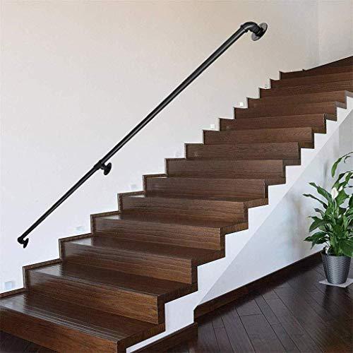 DJSMfs Treppengeländer, Handlauf, schwarz, rutschfest, Industrie-Rohr, Schmiedeeisen, Treppengeländer, für den Innen- und Außenbereich, für ältere Fluren, Sicherheitsstangen, 91 cm