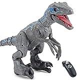 WDSWBEH - Juguete para niños con dinosaurio teledirigido, Jurassic Period World Battle Damage Velociraptor Blue Figure, gran robot de dinosaurio caminando con luz LED y ruido.
