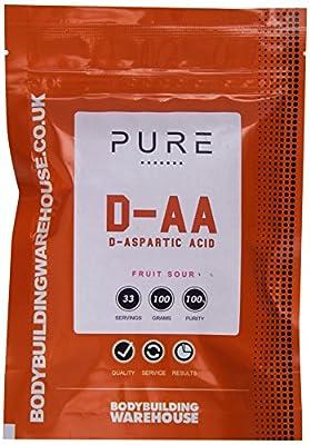 Bodybuilding Warehouse Pure D-Aspartic Acid (DAA) Powder (Fruit Sour, 100g)