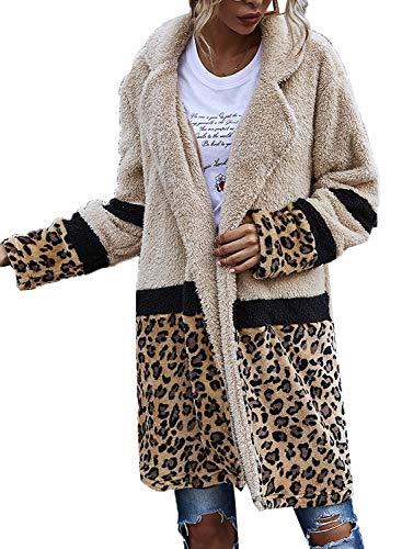 Kirnapci Mujeres Borroso Adj Chaqueta Saco Bloque De Color Leopardo Invierno Charba Abrigo Chaqueta Camello XL