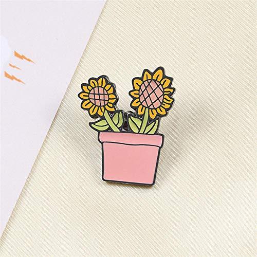 Sonnenblume Topf Pflanze Metall Emaille Broschen Mode Cartoon Kaktus Abzeichen Pin niedlichen Rucksack Mantel Anstecknadeln Schmuck Zubehör-3, China