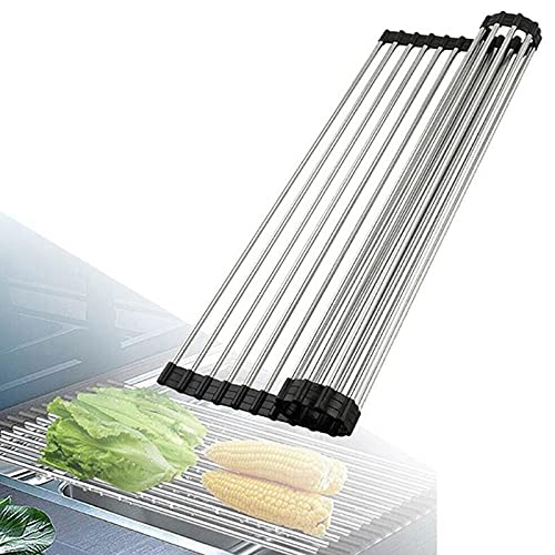 Dish Dry Drainer Over Sink Roll Up Draining Mat Dish Drying Rack Stainless Steel Pipes FDA Grade Foldable