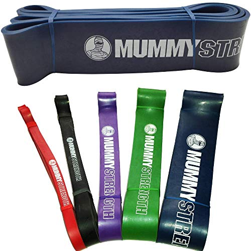 MummyStrength Resistance Bands for Men and Women. The Best Stretch Band for Pull Up Exercise and Powerlifting. Works with Any Pull Up Bar or Station. Single Band. Workout Guide Included - Blue