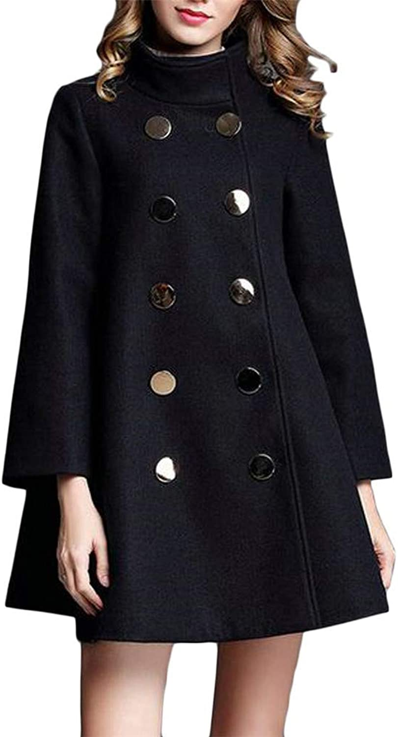 Sweatwater Women's Loose Double Breasted Cape Pleated Irregular Wool Blend Coat Jacket