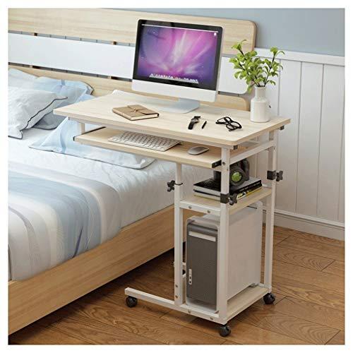 Laptoptisch Höhenverstellbar Schreibtisch Mobiler Pflegetisch Für Schlafzimmer, Wohnzimmer, Sofa Multifunktional Und Praktisch Laptopständer Pflegetisch ( Color : Wood , Size : 80x40x(80~100)cm )