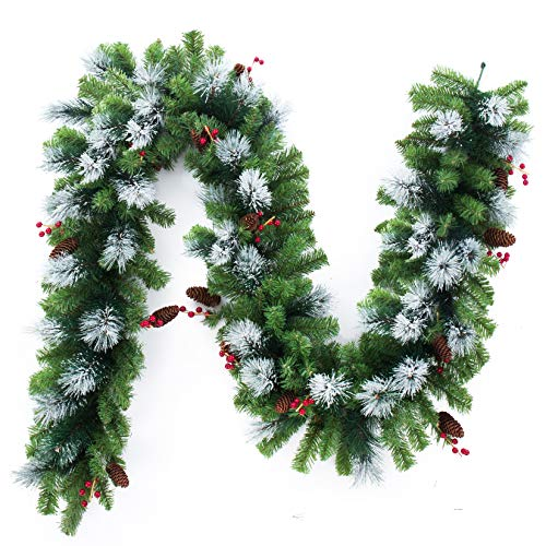 Artificial Christmas Garland and Wreath,Decorated with Pine Cone and Red Berries (White Pine Garland)