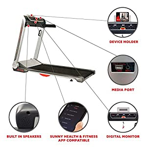 Sunny Health & Fitness Electric Slim Folding Running Treadmill with Wide Belt, Tablet Holder, Speakers, 250 lb Max Weight, No Assembly - Strider, SF-T7718, Gray
