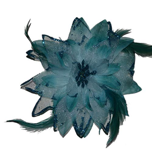 Accessoires & Schmuck Haarschmuck mit Federn Haarblume Ansteckblume Ansteckblüte Glitzer Hochzeit Karneval (Türkis)