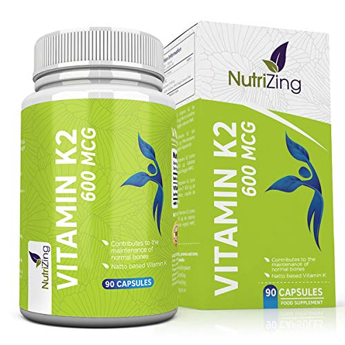 Vitamin K2 MK-7 600mcg by NutriZing - Fermented Natto Based Vegan Vitamin K - 90 Capsules - Supports Maintenance of Normal Bones - Certified Vegan by The Vegan Society