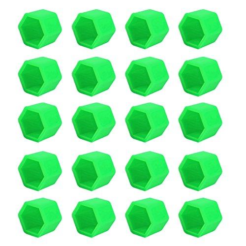 Larcele Silicone Casquettes Écrou de Roue Pneus Vis Capuchon 20 Pièces LSBHT-02 (Lumineux Vert, 21mm)