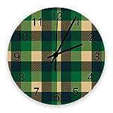 Home Reloj de pared redondo de madera vintage silencioso de 10 pulgadas, textura verde a cuadros, fácil de leer y funciona con pilas, reloj que no hace tictac para oficina / cocina / dormitorio / sala