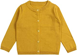 Girls Cotton Cardigan Long Sleeve Kids Button Sweaters Crew Neck Cardigans Sweaters