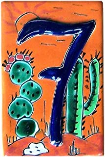 Fine Crafts Imports Desert Talavera Ceramic House Number Seven