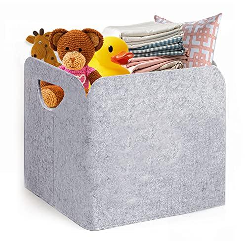 DZSEE Caja de Almacenaje, Cubos de Fieltro Organizador Plegable con Manijas, Caja para Almacenaje para Hogar, Oficina, Armarios, Ropa, Juguetes y mas