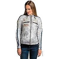 Chaqueta Moto Mujer de Cuero Urban Leather '58 LADIES' | Chaqueta Cuero Mujer | Cazadora Moto de Piel de Cordero | Armadura Removible para Espalda, Hombros y Codos Aprobada CE |Vintage Gris | XL