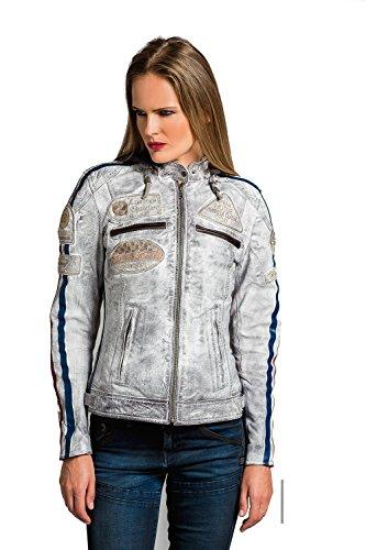 Urban Leather 58 Veste de Moto avec Protections - Femme - Gris vintage - 3XL/48