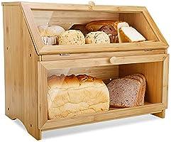 Leader Accessories Bamboo Bread Bin for Kitchen Bread Box Food Bread Storage Retro