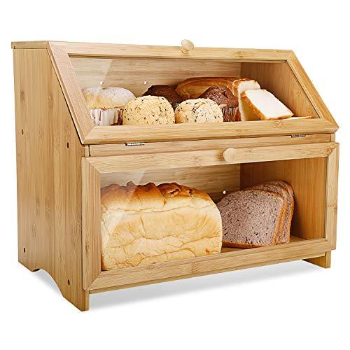 Leader Accessories Boîte à Pain Bambou 2- Couche Countertop Boîte à Pain en Bois de Bambou pour Cuisine, Nature, 39 x 32 x 25 cm