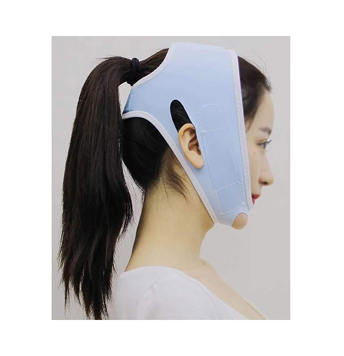 幹葬儀責TLMY 包帯ヘッドギアマスクの顔Vの顔の薄い顔のアーティファクトプラスチック美容ゴムバンドフェイスリフトネックリフト後薄い顔マスクあごベルトの回復 顔用整形マスク (Color : Blue)