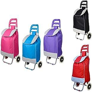 Shopping Cart Trolley Folding Trolley Bag Grocery Basket Carrier Portable wheels PVC (Random Trolley)