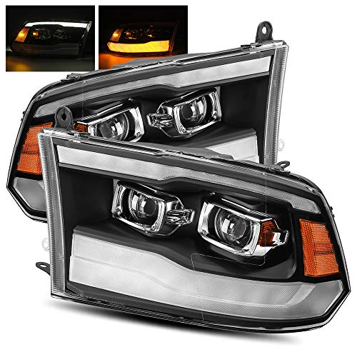 AlphaRex Black For 09-18 Ram 1500/10-18 Ram 2500/3500 DRL/Signal LED Dual Projector Headlights