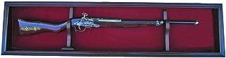Single Rifle Gun Display Case Wall Rack Cabinet w/UV Protection, Lock, GN18(RED) (Mahogany)