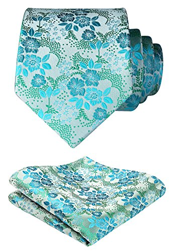 HISDERN Extra lange Blumen Paisley Krawatte Taschentuch Herren Krawatte & Pocket Square Set (Gold & Orange)