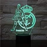 3D Night Lights Real Madrid C Ronald Illusion Lámpara de escritorio Led 7 Color Touch Remote Color Luces de decoloración USB Home Bedroom Nightside Lights