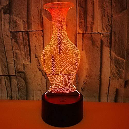 Kleurrijke Vaas 7 Kleuren Veranderende Slaapkamer Led Nachtlampjes Verlichting Acryl Home Decor USB Plug 3D Bureau Lamp Geschenken