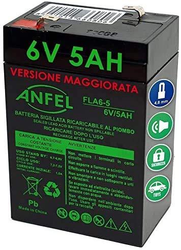 Batteria al piombo 6V 4Ah ricaricabile ermetica faston 4,8mm 4,5Ah 5Ah per lampade emergenza