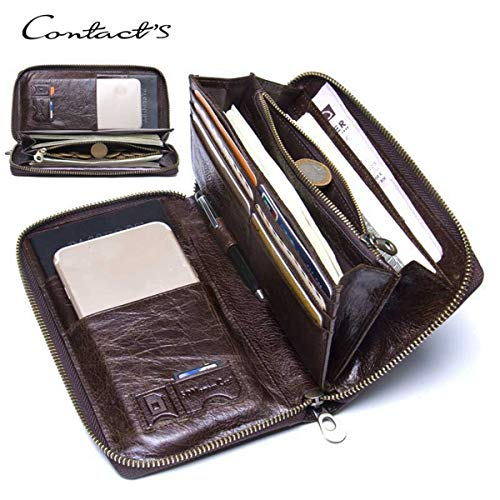 Mannen Multi-Functie Lederen Portemonnee, Multi-Card Dubbele Rits Zakelijke Handtas, Kan Zet Mobiele Telefoon Sim Card Pen voor Werk Vergadering