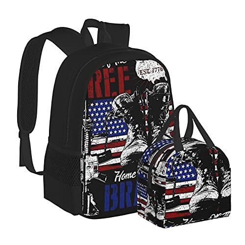 Bandiera Americana Veterano Boot Armi Pistola Scuola Zaino per Scuola Media, Università Studente Bookbag Adolescenti Computer Portatile Borsa Casual
