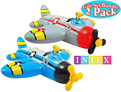 Intex Water Gun Squirter Fighter Plane Ride-On Pool Floats Red/Gray & Blue/Yellow Gift Set Bundle - 2 Pack