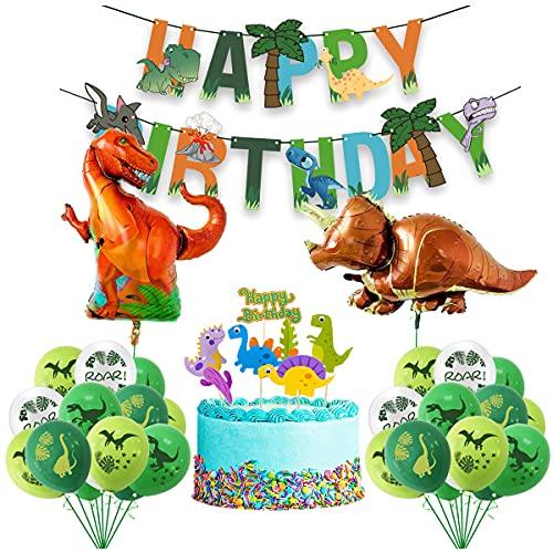 LUKDUNG Geburtstagsdeko Dinosaurier Geburtstag Party Dekorationen Luftballons, Dinosaurier Folienballon, Happy Birthday Banner Tortendeko Party Deko
