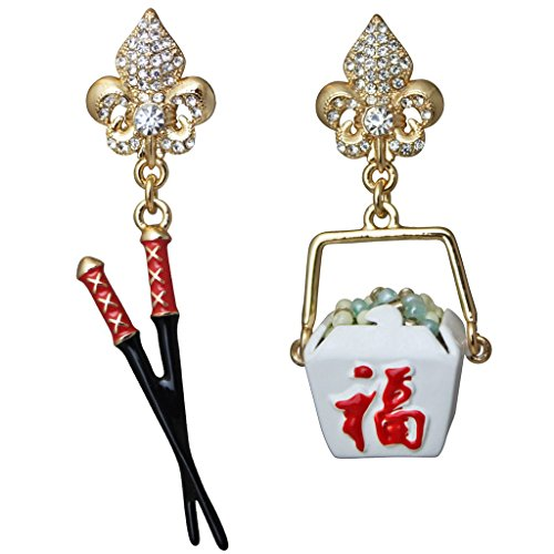 Ritzy Couture Womens Chinese To Go Food Container & Chopsticks Drop Dangle Earrings (Goldtone) (Post)
