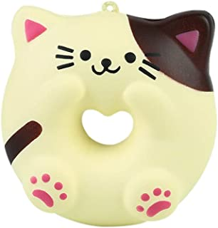 Squishies Stress Relief Toy, Cat Doughnut Fun Squeezing Cream Scented Toy Slow Rising Toys, Kawaii Soft Mochi Toys Squishy Birthday Gift for Adults Kids Boys Girls (A)