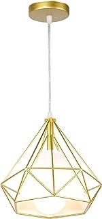 STOEX Lustre Suspension Industrielle 25cm, Lampe de Plafond Abat-Jour Cage forme Diamant, Corde Ajustable, Or