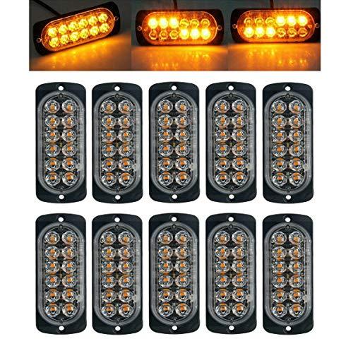 Luces estroboscópicas de emergencia para camiones, Maso Amber Recuperación Coche 12 LEDs Barra de iluminación Naranja Parrilla Desglose intermitente 12/24 V Pack de 10
