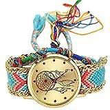 MoGist Reloj de pulsera analógico de cuarzo para mujer, diseño de atrapasueños rojo, correa de...