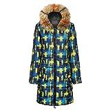Temperament Fashion Suelto Parka Estampado Vintage X-Long Mujeres Abajo Abrigo de Invierno Chaqueta Caliente
