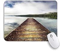 ECOMAOMI 可愛いマウスパッド 湖に広がる桟橋ライジングミストヒルズ霧の不思議な風景 滑り止めゴムバッキングマウスパッドノートブックコンピュータマウスマット