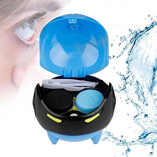 Ultraschallreiniger für Kontaktlinse, Automatische Kontaktlinse Washer Cleaner Fall Kontaktlinsenbehälter Nette Mashroom, USB Charge(Blau)