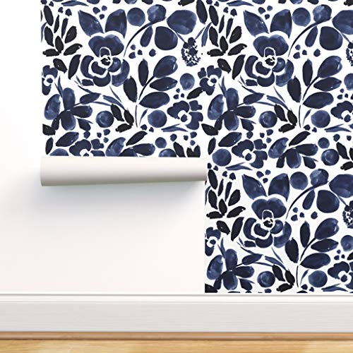 Spoonflower Pre-Pasted Removable Wallpaper, Floral Watercolor Navy Print, Water-Activated Wallpaper, 12in x 24in Test Swatch
